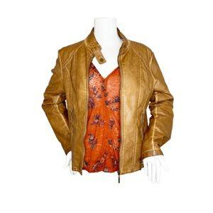 MSSP Tan Faux Leather Moto Jacket- Large